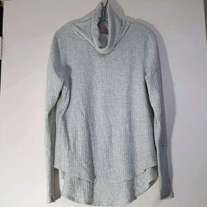 Sweet Romeo Women's Cowl Thermal Sweater Grey M